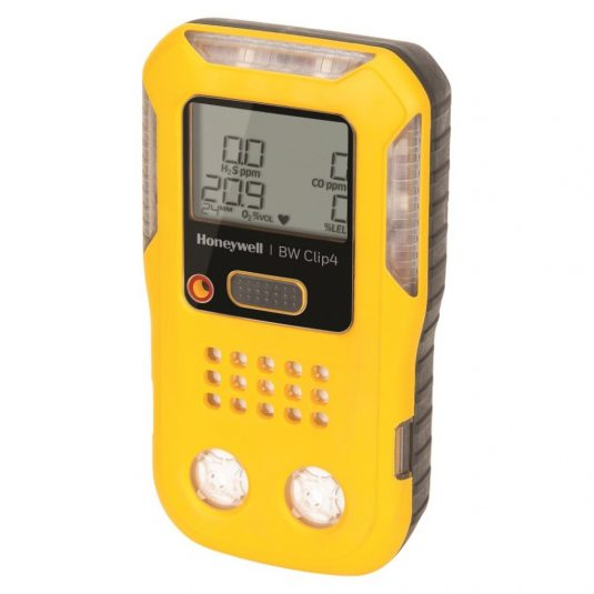 Tilted Side View Of The BW Clip4 Gas Detector (In Yellow)