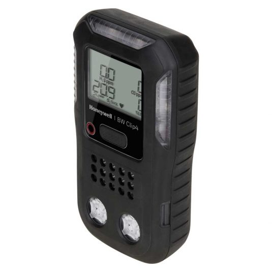 Tilted Side View Of The BW Clip4 Gas Detector (In Black)