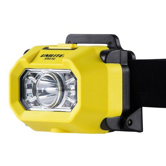 Unilite H2 Atex Head Torch (Zoomed View Of Light, Facing To The Side)