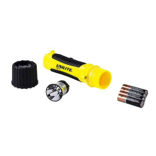 Unilite FL4 Hand Torch (Unscrewed, Leaning To The Side w/ Batteries Removed)