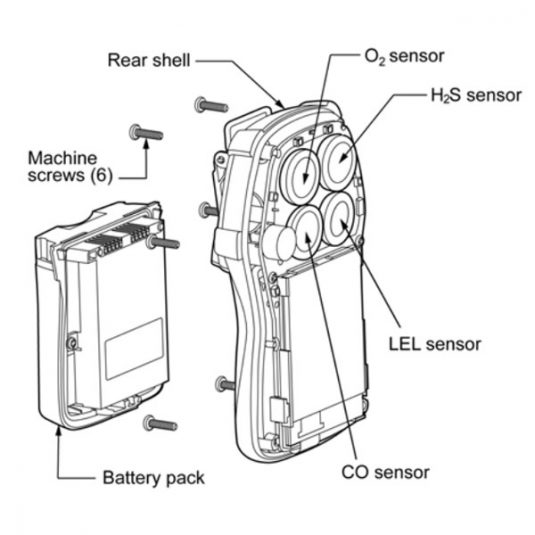 Honeywell BW Quattro Diagram, For Compatible Sensors & Battery Pack