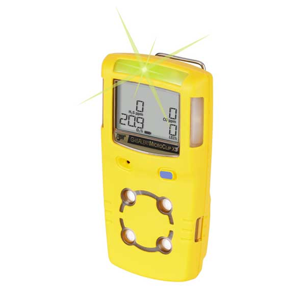 BW GasAlertMicroClip X3 Gas Detector (Yellow Housing)