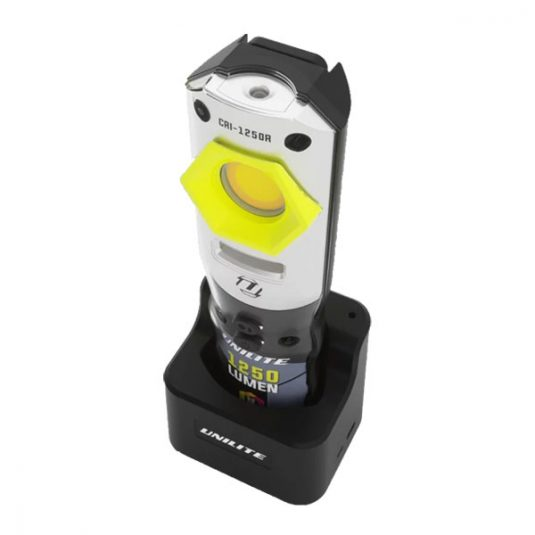 CRI-1250R Compact Detailing Light - Tilted Down View On Charging Stand