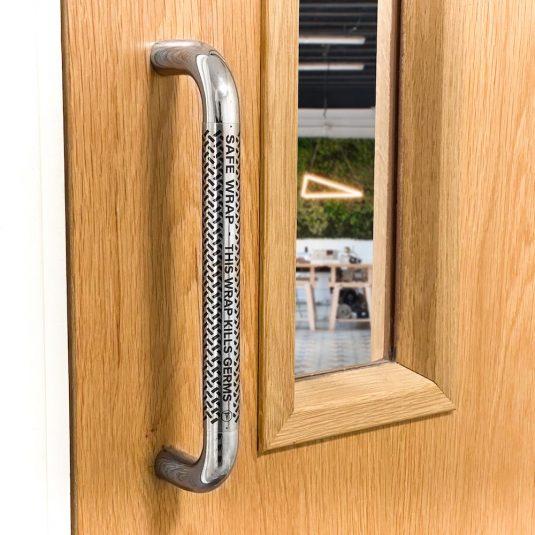 CLEAR Antibacterial Pull Door Handle Wrap