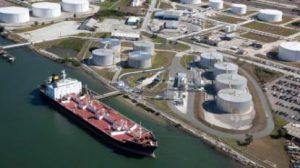 large gas tanker ship docked at port