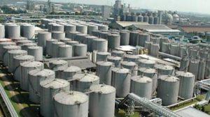 Large industrial gas tank farm